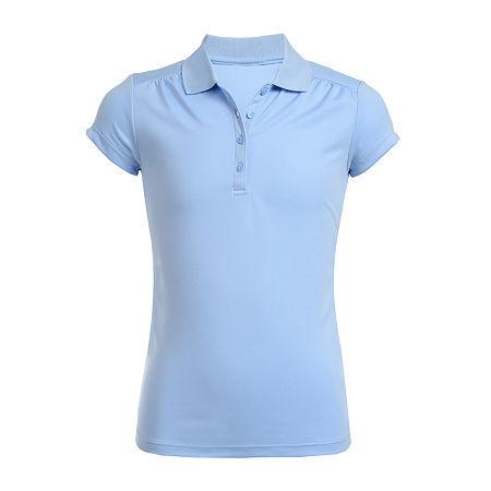 IZOD Performance Mesh Little & Big Girls Short Sleeve Wrinkle Resistant Moisture Wicking Polo Shirt, 14.5/16.5 Plus , Blue