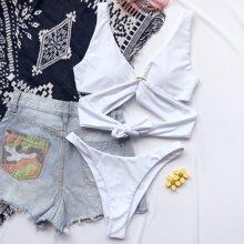 Bikini Badeanzug mit Ring Bindung, Wickel Design und hohem Ausschnitt