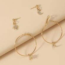 2 Paare Ohrringe mit Strass & Mond Anhaenger