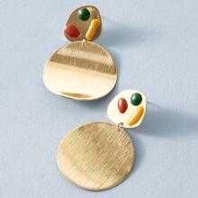 1pair Metal Round Drop Earrings