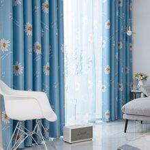 1pc Daisy Print Curtain
