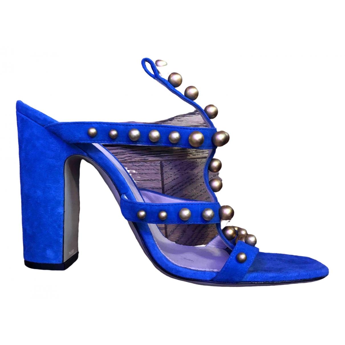 Pollini \N Sandalen in  Blau Veloursleder