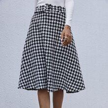 Houndstooth Belted Tweed Skirt