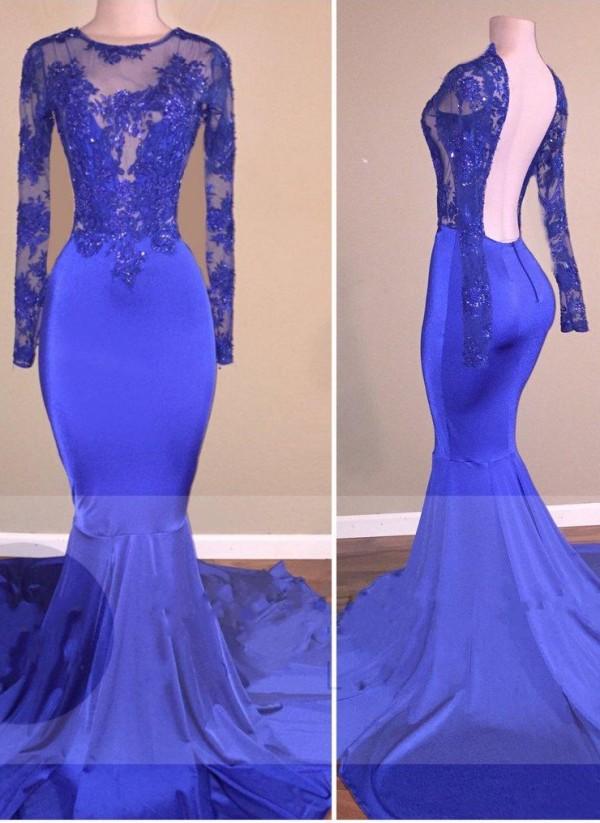Elegante Abendkleider Lang Mit armel | Blaues Abendkleid mit Spitze