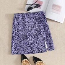 Split Hem Zip Back Leopard Skirt