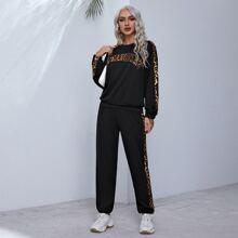 Pullover mit Buchstaben Stickereien, Leopard Muster, seitlicher Naht & Jogginghose Set