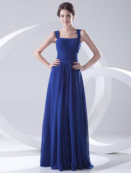 Milanoo Blue Bridesmaid Dress Floor-Length Straps Sheath Ruched Chiffon Dress