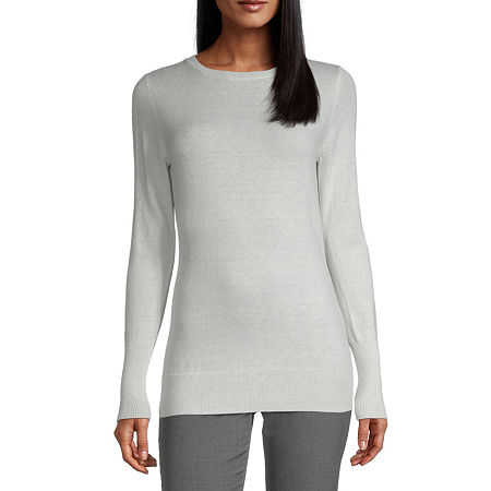 Worthington Womens Crew Neck Long Sleeve Pullover Sweater, Small , White