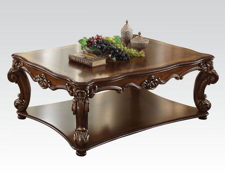 Vendome Collection 82000 Coffee Table with Scrolled Decor Trim Apron  Bottom Shelf  Scrolled Legs  Victorian Style  Rectangular Shape  Poly Resin and