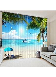 3D Blue Sea and White Beach Printed Wonderful Scenery Living Room Custom Curtain