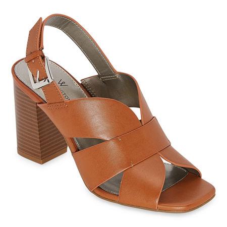 Worthington Womens Sprig Heeled Sandals, 8 Medium, Brown