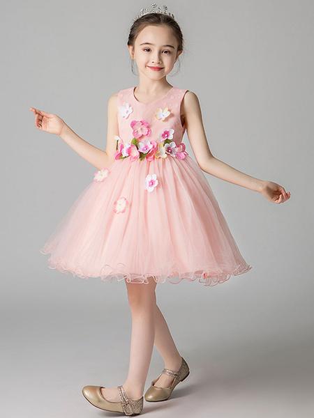 Milanoo Vestidos de niña de las flores Cuello joya Flores sin mangas Vestidos formales para niños