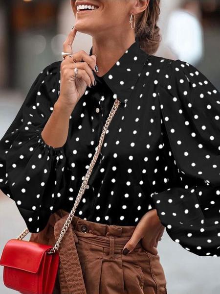 Milanoo Black Shirt For Women Polka Dot Turndown Collar Retro Long Puff Sleeves Polyester Tops