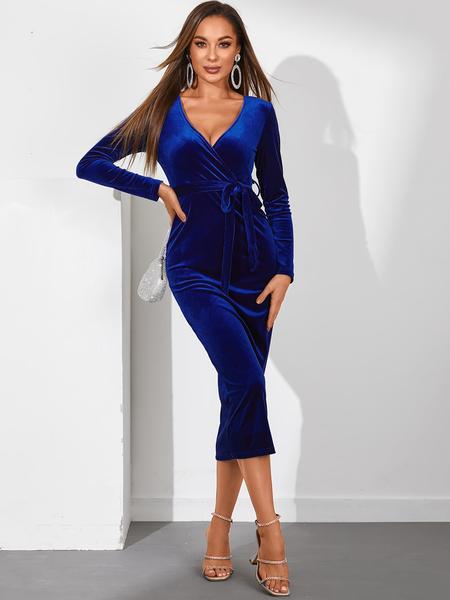 YOINS Royal Belted Lace-up V-neck Long Sleeves Dress