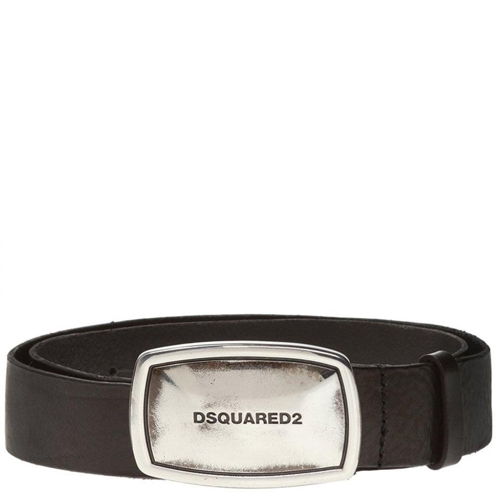 DSquared2 Silver Business Plaque Belt Colour: BLACK, Size: 34