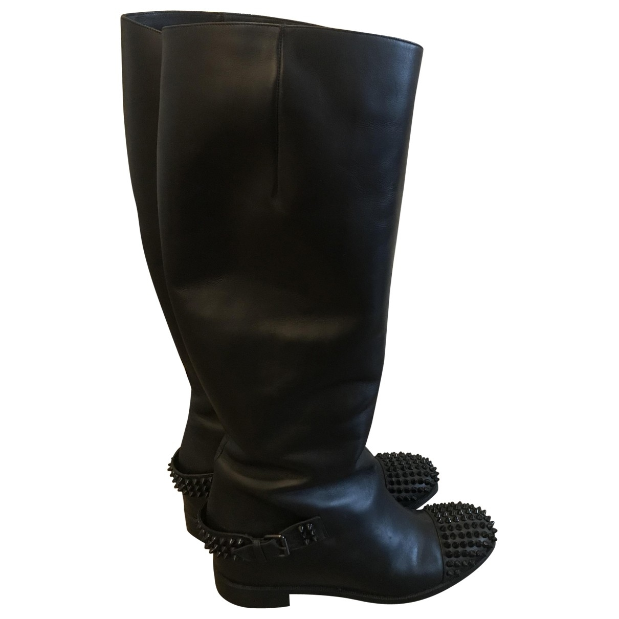 Christian Louboutin Egoutina Black Leather Boots for Women 39.5 EU