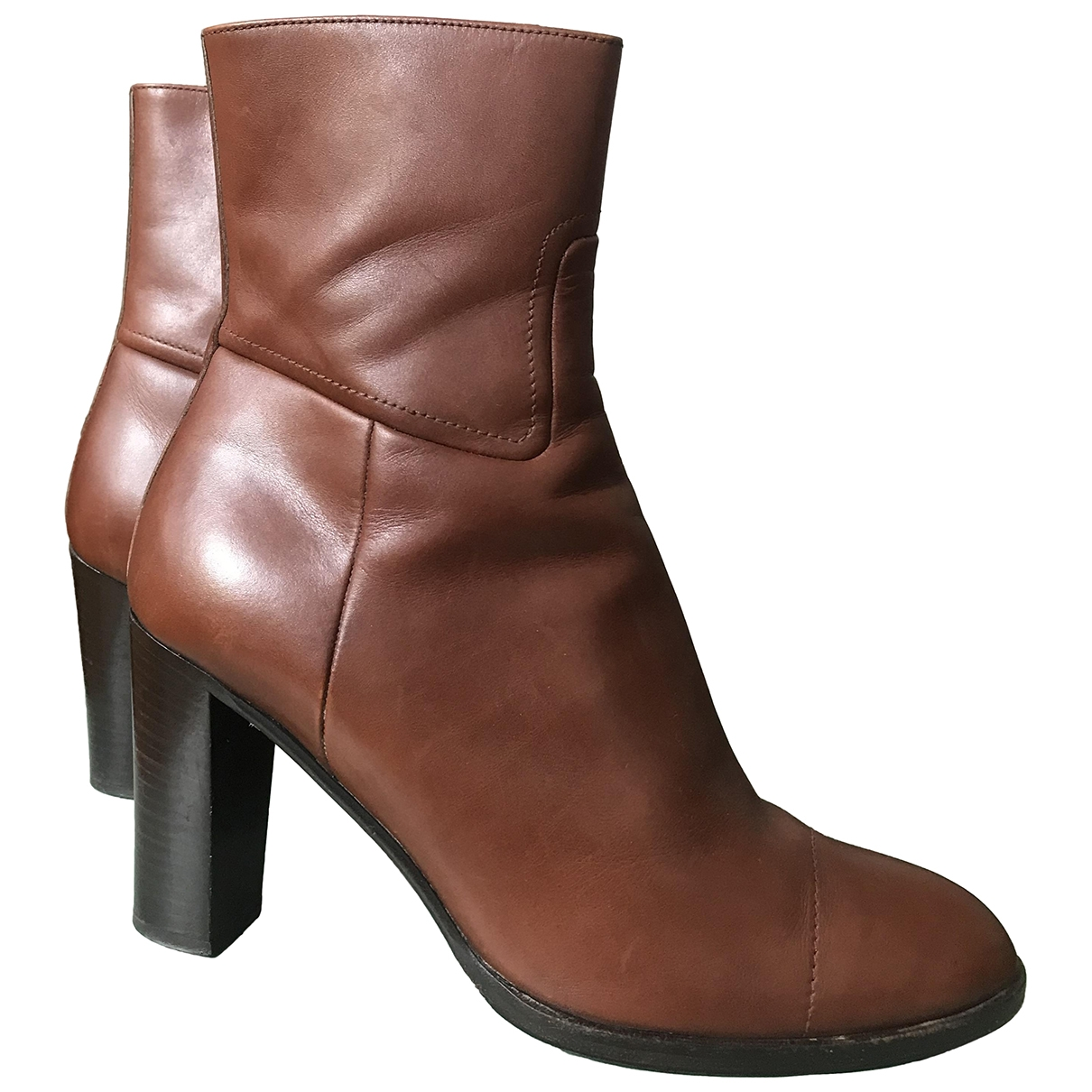 Jil Sander - Boots   pour femme en cuir - marron