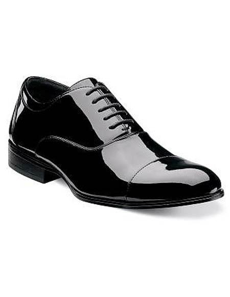 Mens Cap Toe Laceup Patent Uppers Black Dress Shoes