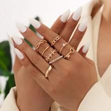 8 piezas anillo con diamante de imitacion