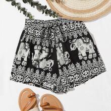 Shorts mit Elefant & Stamm Muster und Kordelzug um die Taille