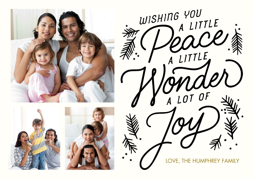 Christmas Photo Cards Set of 20, Premium 5x7 Foil Card, Card & Stationery -Peace Wonder Joy by Hallmark