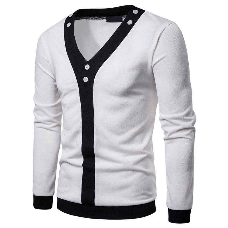 Mens Fashion V Neck Color Block Long Sleeve Casual Cardigans