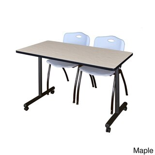 Kobe Grey 48-inch x 24inch Mobile Training Table and 2 'M' Stack Chairs (Maple)
