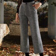 Crop Tweed Hose mit Fransen und schraegen Taschen