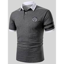 Guys Embroidery Patched Striped Tape Polo Shirt