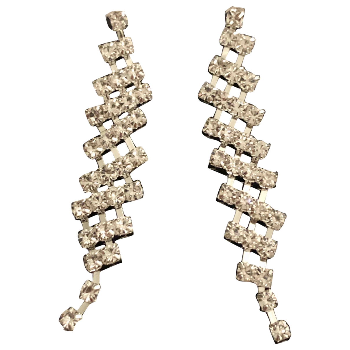 Non Signé / Unsigned Art Déco Silver Crystal Earrings for Women \N