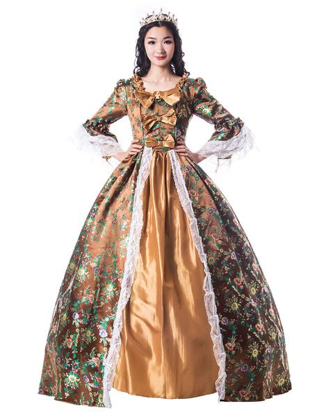 Milanoo Women Retro Costumes Bows Lace Matte Satin Victorian Style Dress Vintage Clothing Halloween