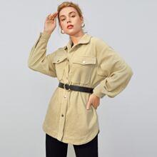 Kord Mantel mit Taschen Klappe, gebogenem Saum ohne Guertel