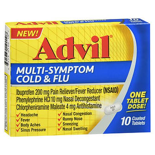Advil MultiSymptom Cold & Flu Coated Tablets 10 Tabs by Advil
