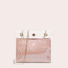 Transparente Tasche mit Buchstaben Muster und innerer Brieftasche