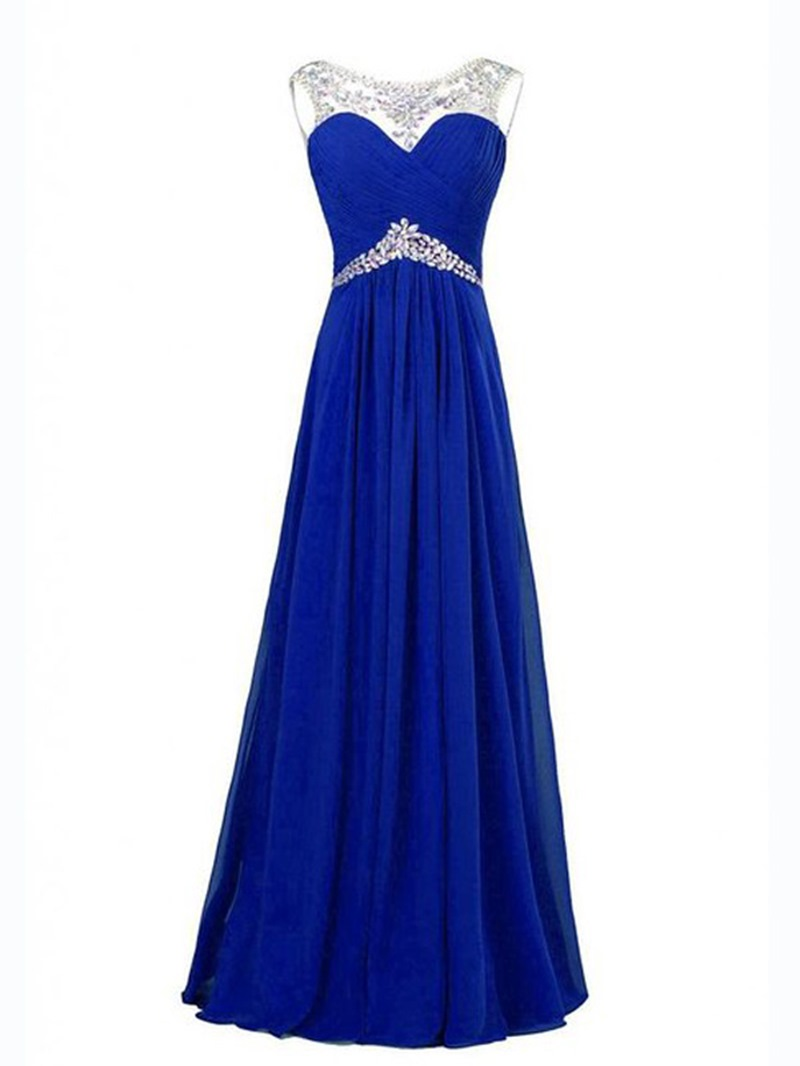 Ericdress Influence Jewel Neck Beaded Ruched Floor-Length Prom Dress