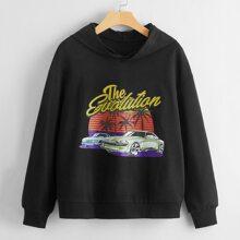 Sweatshirt mit Auto, Buchstaben Grafik und Kapuze