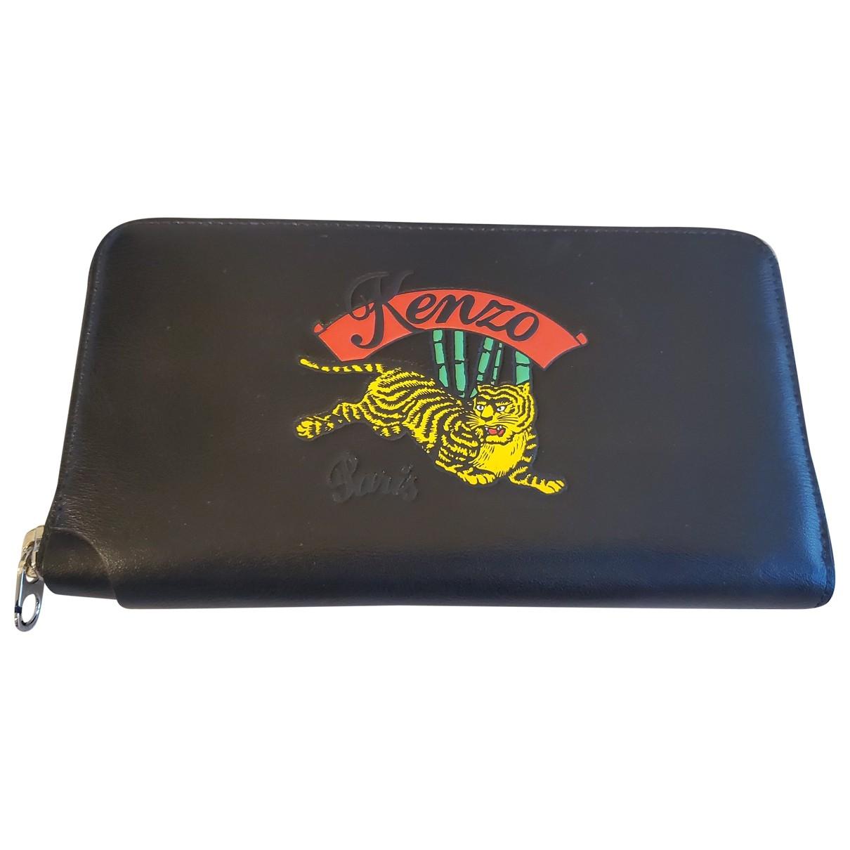 Kenzo \N Black Leather Small bag, wallet & cases for Men \N