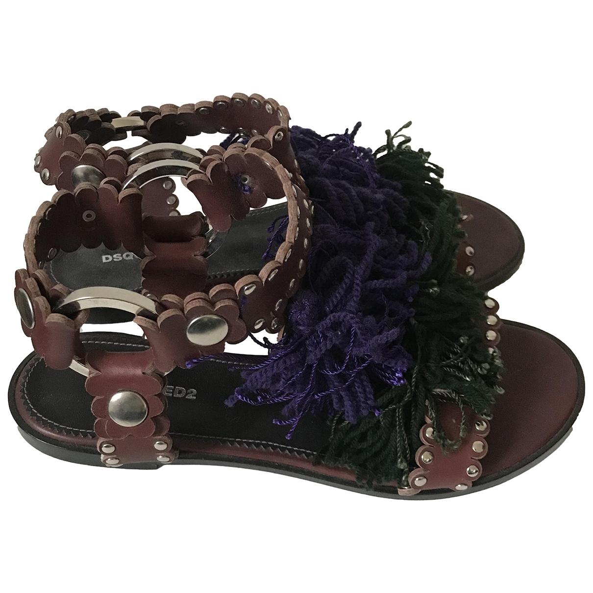 Dsquared2 - Sandales   pour femme en cuir - bordeaux