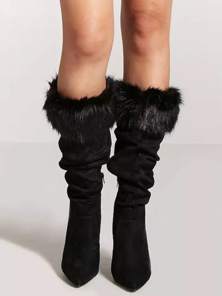 Milanoo Mid Calf Boots Black Pointed Toe Faux Leather Detail High Heel Boots