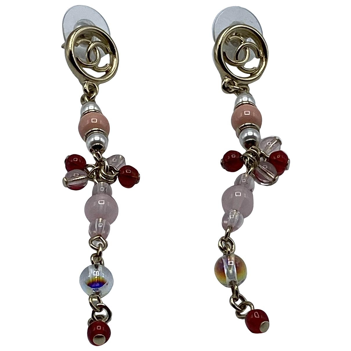 Chanel - Boucles doreilles CC pour femme en metal - rose