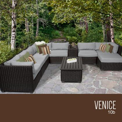 VENICE-10b-GREY Venice 10 Piece Outdoor Wicker Patio Furniture Set 10b with 2 Covers: Wheat and