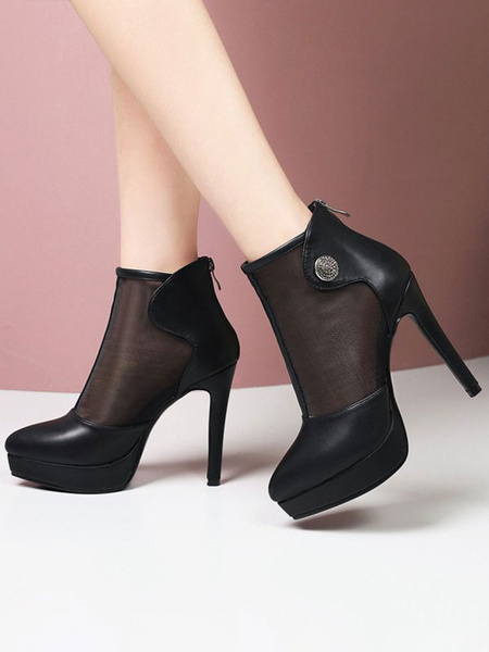 Milanoo Black Summer Boots Pointed Toe Metal Details Stiletto Ankle Summer Boots