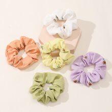 5pcs Flower Pattern Scrunchie