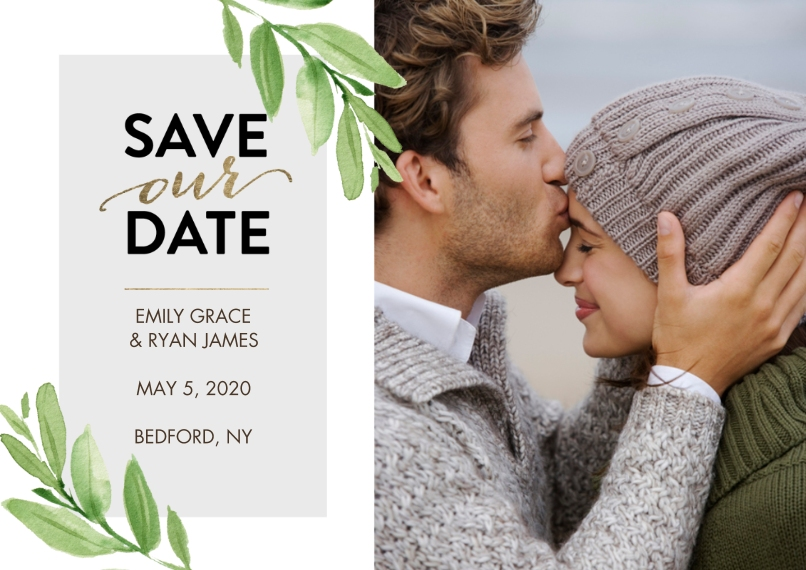 Save the Date 5x7 Cards, Standard Cardstock 85lb, Card & Stationery -Save the Date Watercolor Leaves