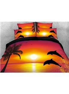 Jumping Dolphins Rust Duvet Cover Set with Non-slip Ties 4-Piece 3D Scenery Bedding Sets Soft Durable Bedding