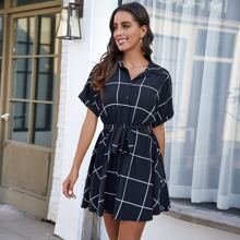 Plaid Button Front Belted A Line Dress