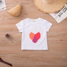 Toddler Girls Letter & Heart Print Tee