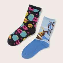 2pairs Graphic Socks