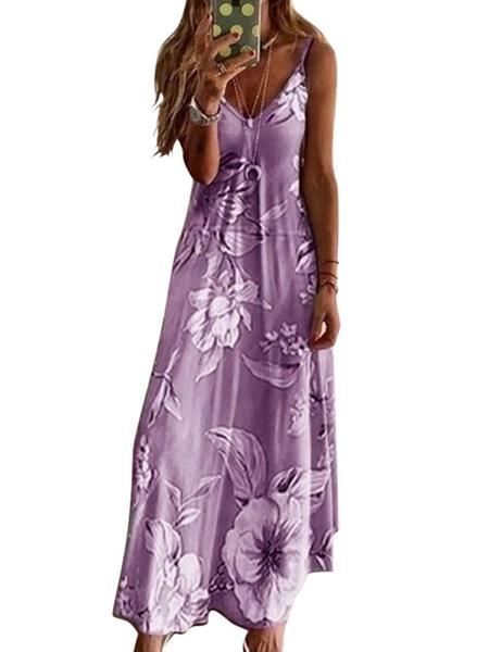 Milanoo Maxi Dress Sleeveless Gray Printed Straps V Neck Polyester Long Warp Causal Dress