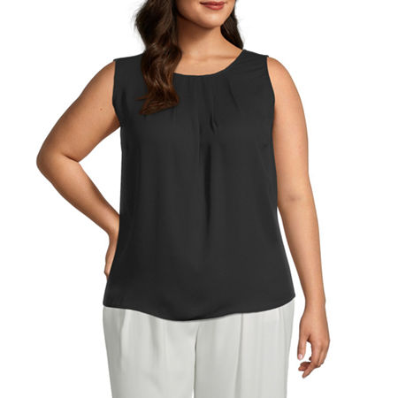 Worthington Womens Pleat Neck Shell - Plus, 3x , Black